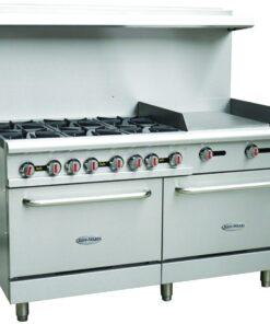 """Serv-Ware 6 Burner Range With 24""""Griddle Gas standard oven"""